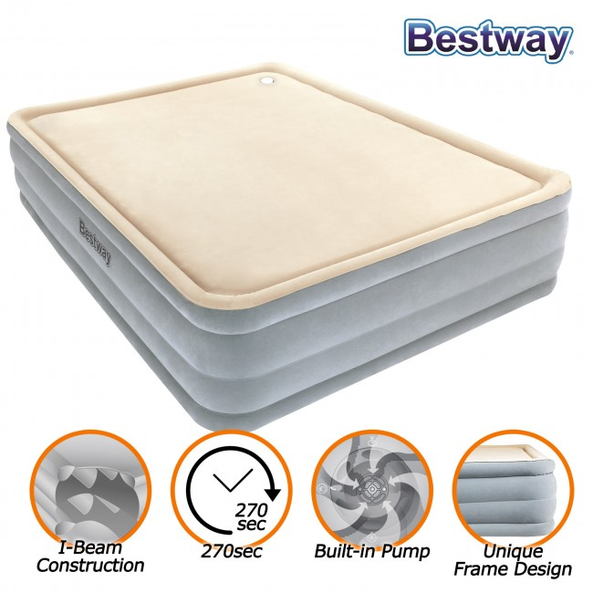 New Bestway Luxury Queen Air Bed Inflatable Mattress Built