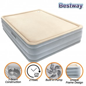 NEW BESTWAY LUXURY QUEEN AIR BED INFLATABLE MATTRESS BUILT-IN PUMP